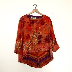 Dorothy PLATINUM vintage 3/4 sleeve shirt sz L